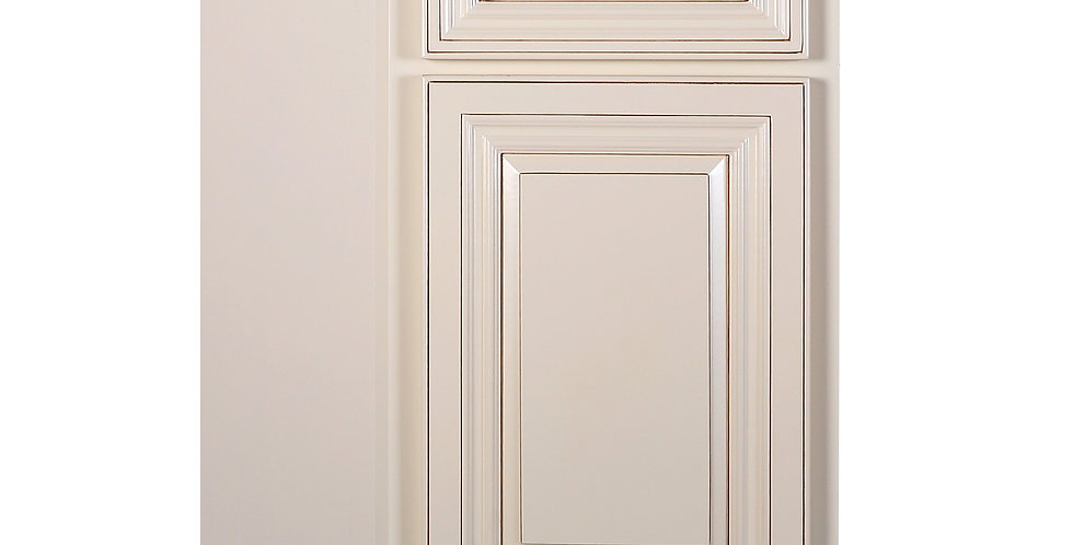 Cream White Base End Angle Cabinet with One Door
