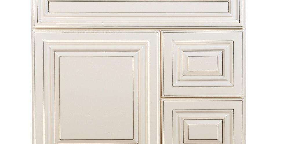 Cream White Vanity Base with Drawer 30 L/R
