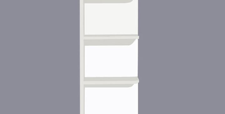 White Shaker Wall End Open Shelf