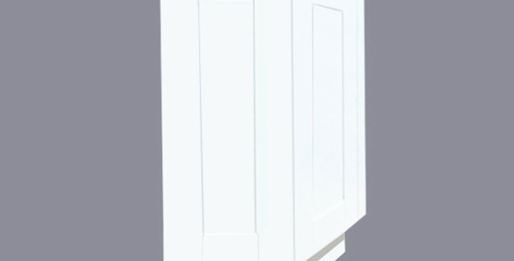 White Shaker Base End Angle Cabinet with Two Doors