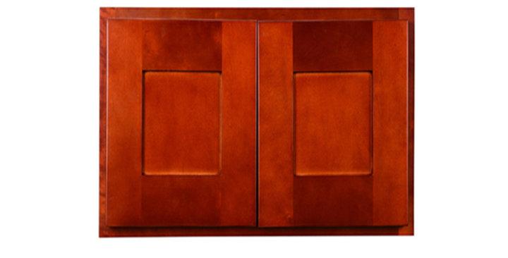 "Cherry Shaker Wall Cabinet 24"" Deep 18""H"