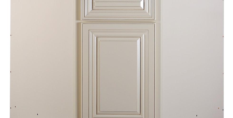 "Cream White Sink Base Angle Cabinet 36"""