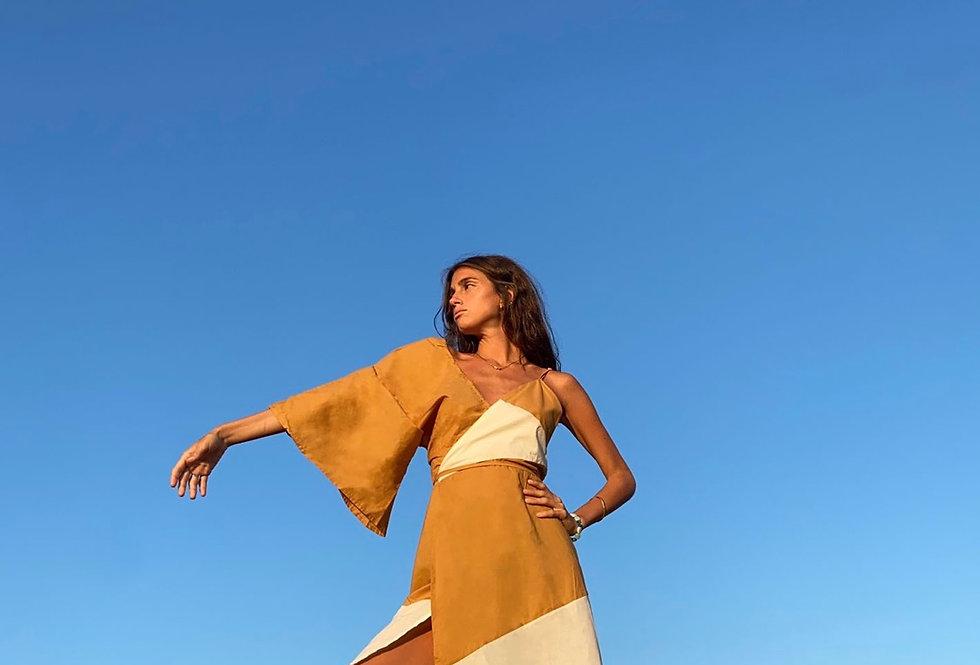 Asimetric Dress Brown