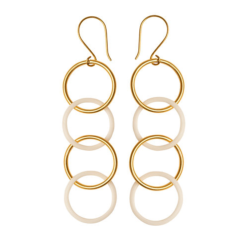 White Hoops Earrings