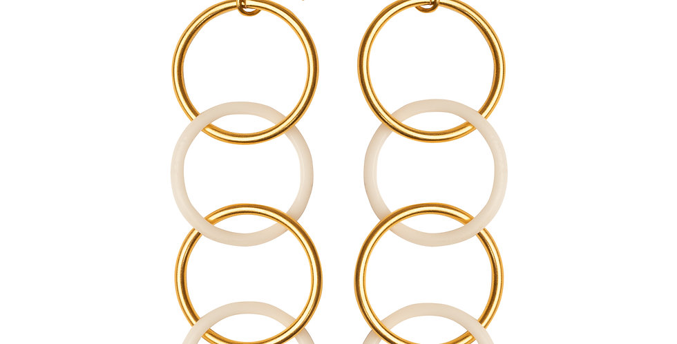 White Hoops Earrings