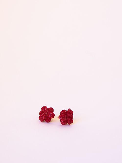 Red Hibiscus Earrings