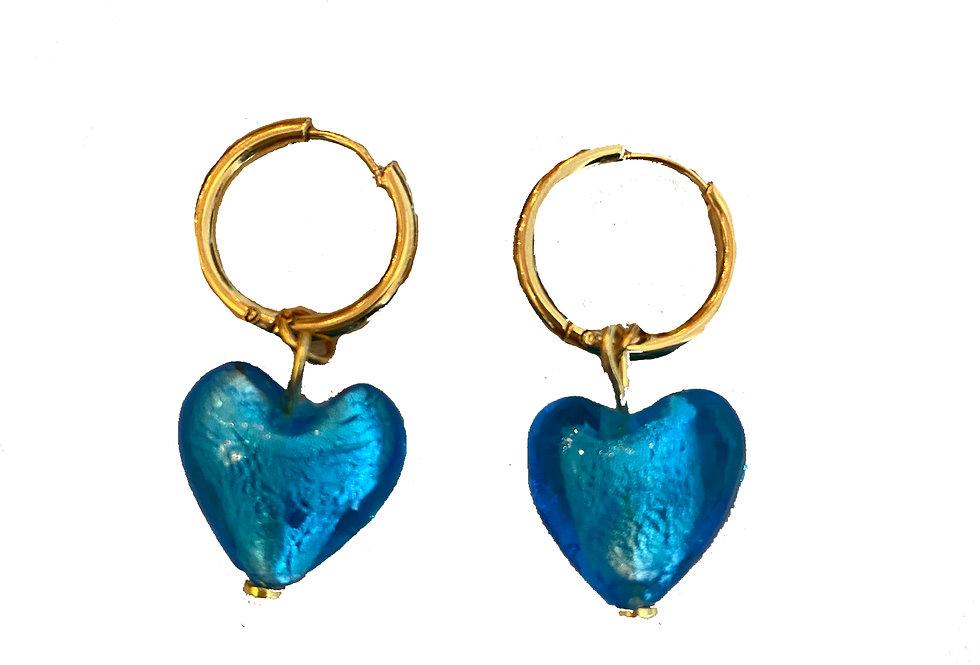 Blue Heart Glass Earrings