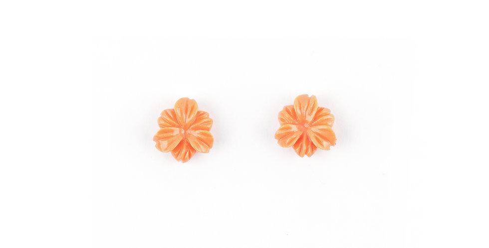 Coral Hibiscus Earrings