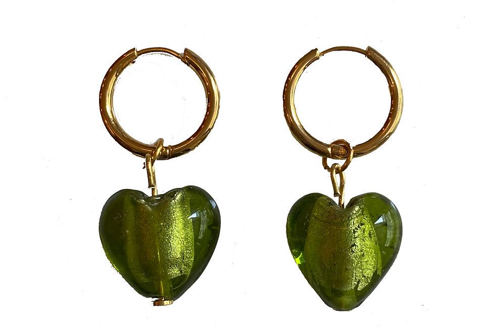 Green Heart Glass Earrings