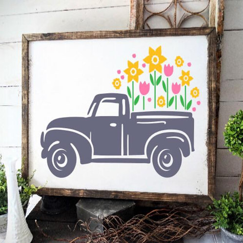 Spring truck with flowers