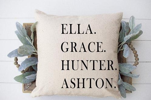 Customized family name throw pillow cover