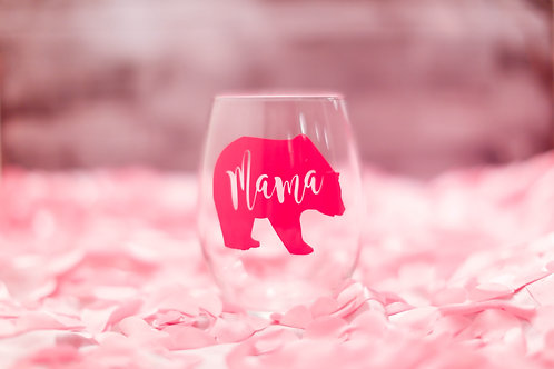 Mama Bear stemless wine glass