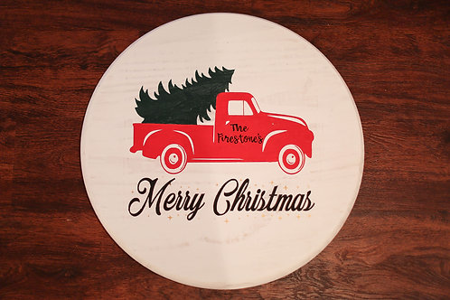 personalized christmas tree in a truck sign