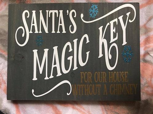Santa's Magic Key Wood Sign