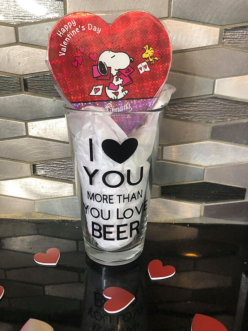 PERSONALIZED I LOVE YOU MORE THAN YOU LOVE BEER PINTGLASS
