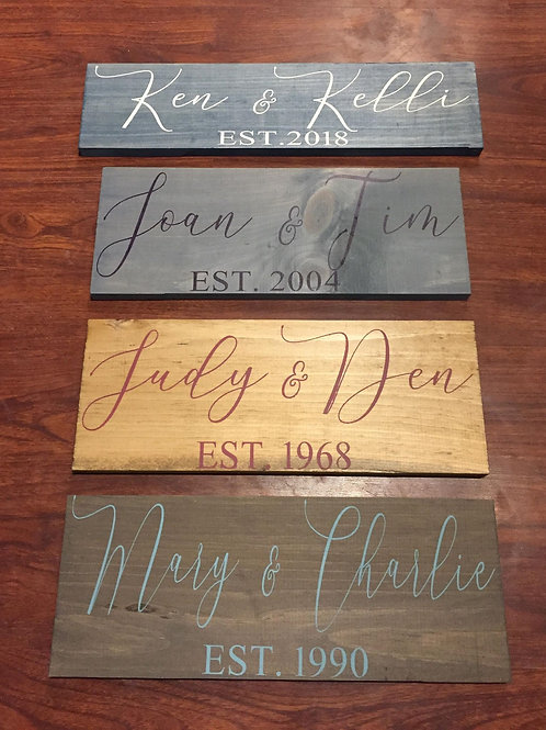 Personalized name signs, with established date