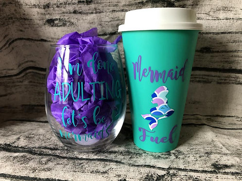 Mermaid tumbler and wine set