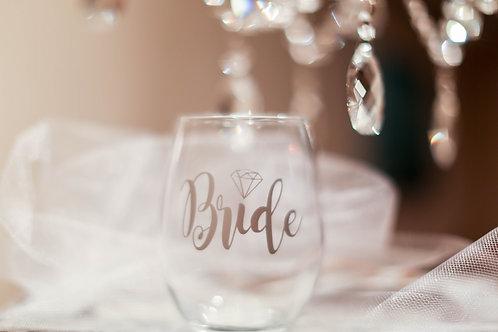 Customized Bride Stemless Wine Glass