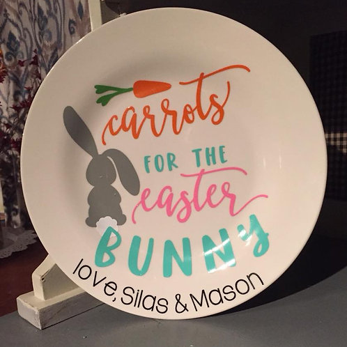 Personalized Easter bunny plate
