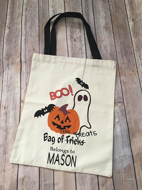 Reusable personalized halloween totes