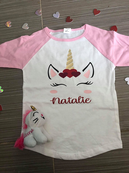 Personalized Unicorn Valentines Shirt