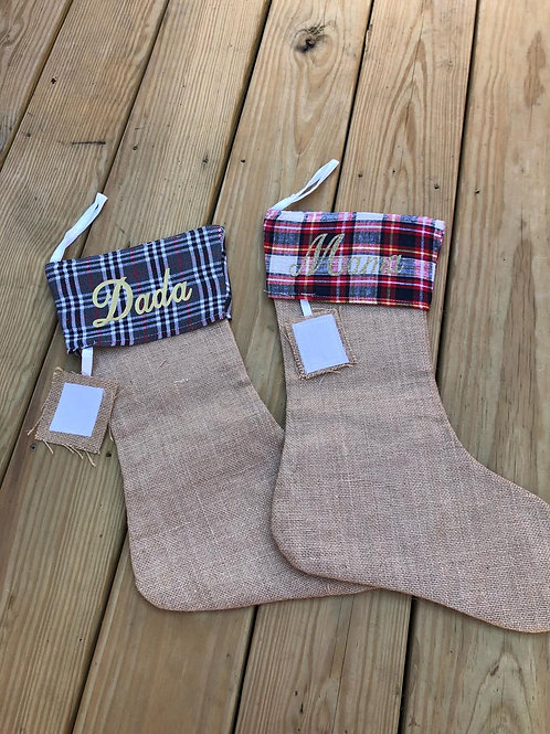 PERSONALIZED BURLAP STOCKINGS