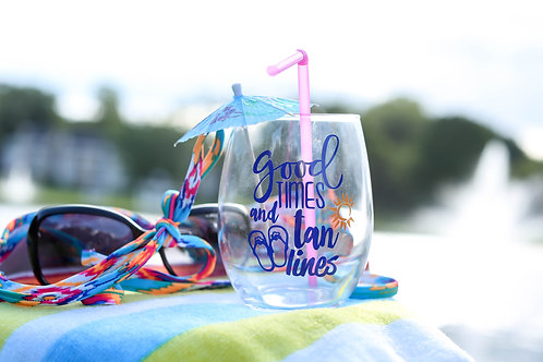 Good Time and Tan Lines Stemless Wine Glass