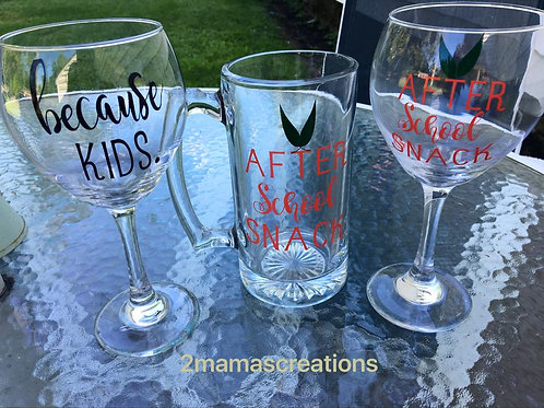 Back to school beer mugs and wine glasses