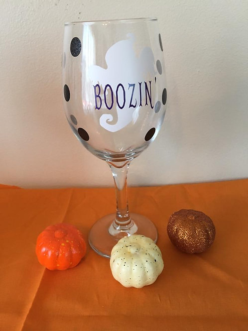 """BOOZIN"" wine glass"