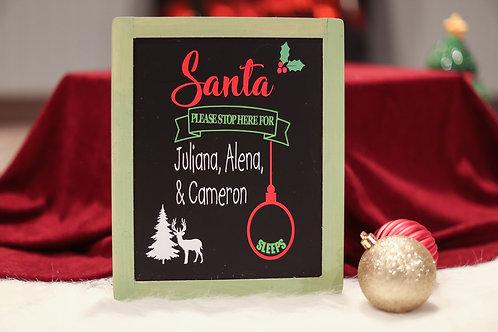 santa countdown chalkboard (personalized)