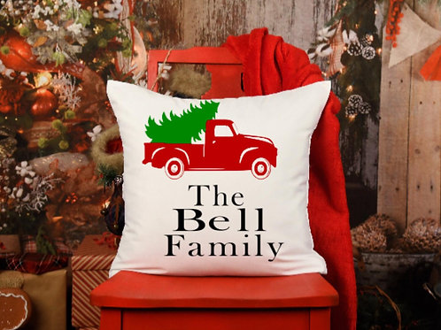 Personalized Christmas truck throw pillow cover