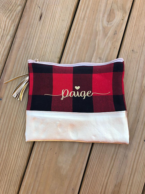 Customized Plaid Metallic Cosmetic Bag