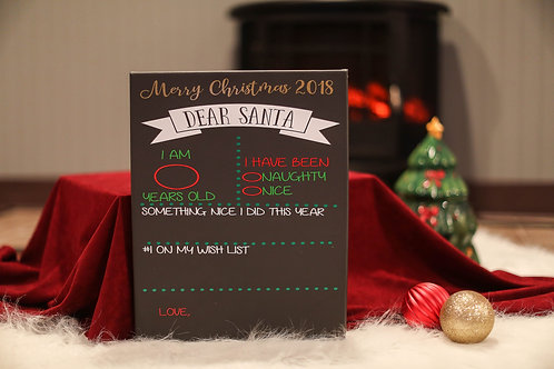 chalkboard Santa christmas list