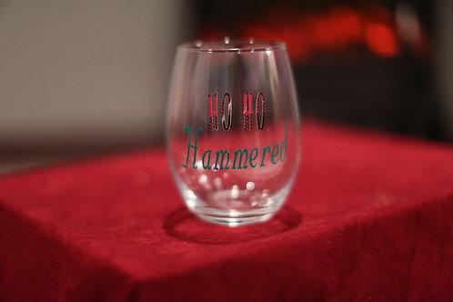 HO HO HAMMERED STEMLESS WINE GLASS