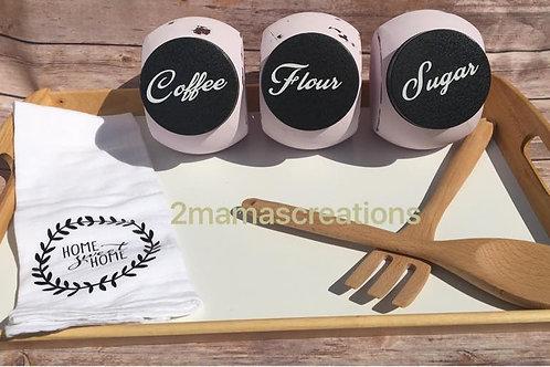 Flour, coffee, and sugar set