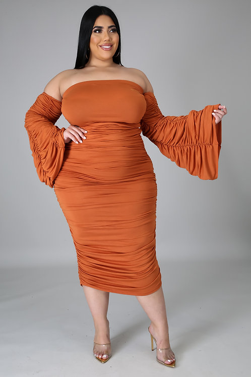 Plus Size Ruched Off Shoulder Dress