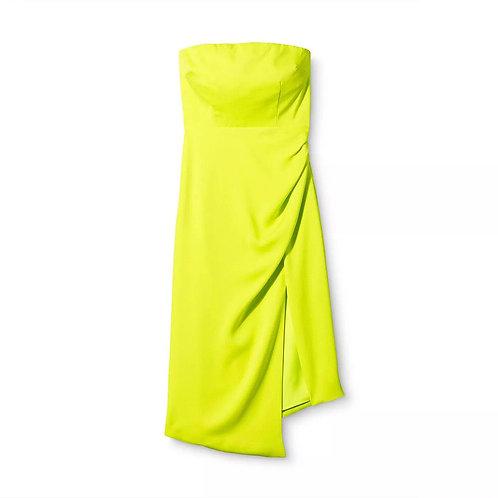 Plus Size Strapless Side Slit Dress