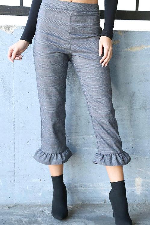 Plaid Ruffle Trousers