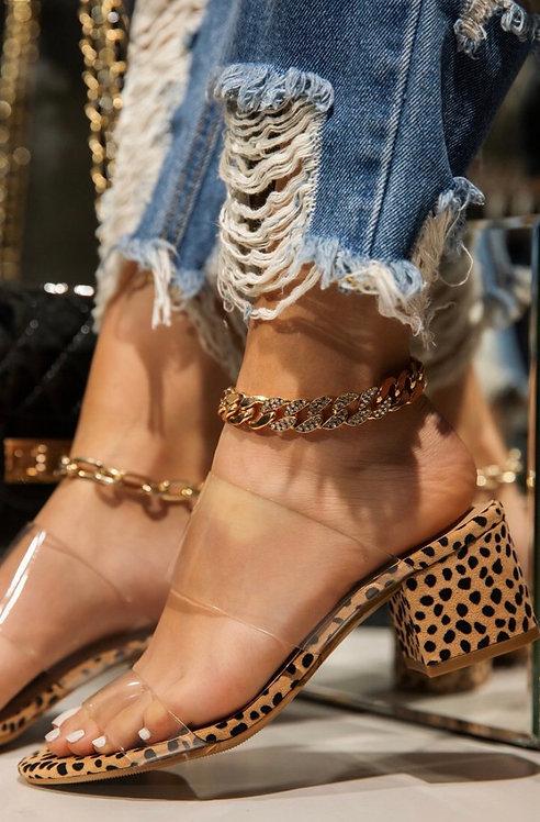 Clear Strap Cheetah Sandal