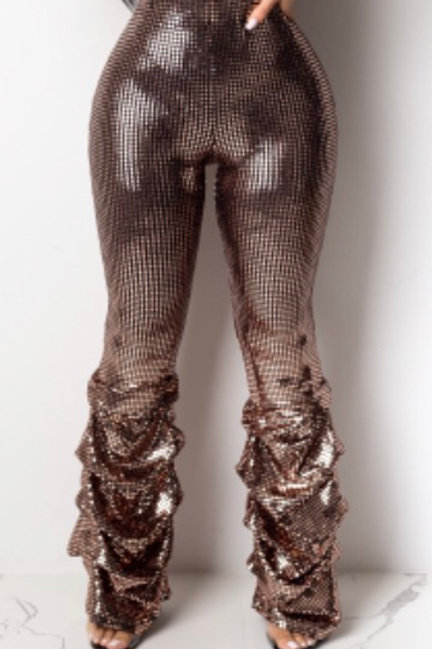 Sequin Ruched Bell Bottom Pants