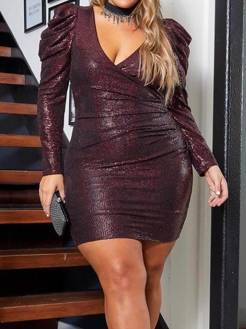 Plus Size Puff Shoulder Sequin Dress