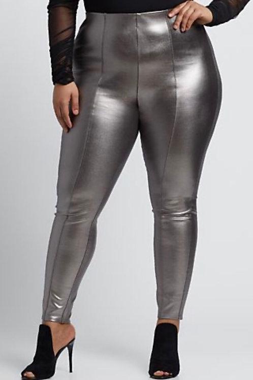 Plus Size Metallic Faux Leather Pants
