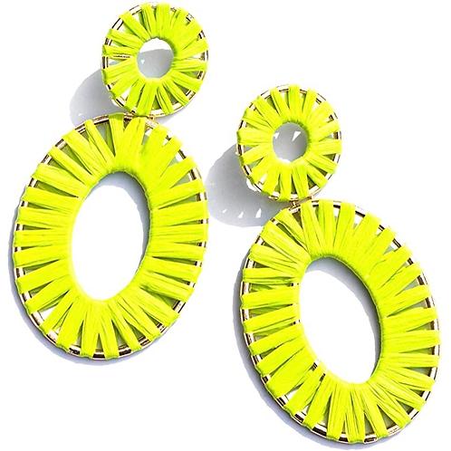 Handmade Rattan Earrings -Yellow