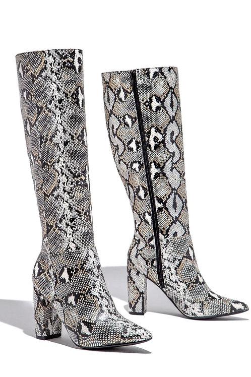 Snake Knee High Boots