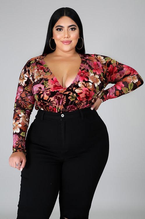 Plus Size Floral Bodysuit