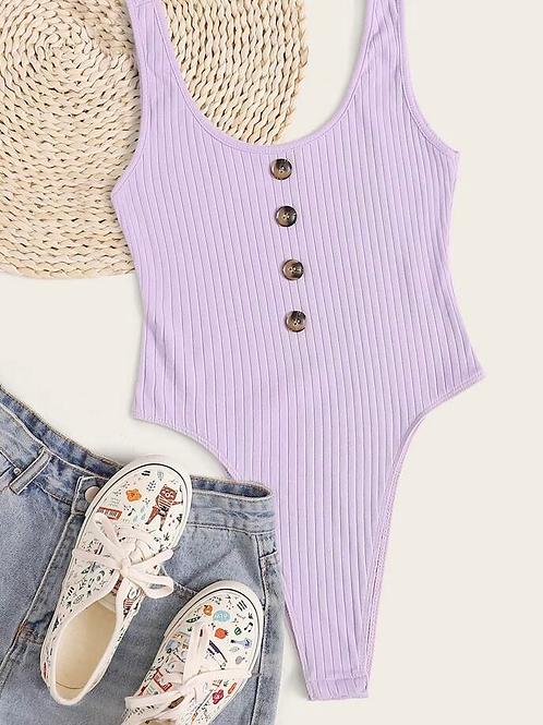Buttoned Rib Knit Bodysuit