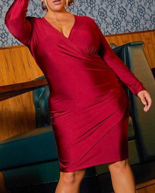 Plus Size Ruched Wrap Bodycon Dress