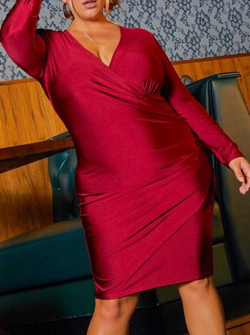 Plus Size Ruched Wrap Bodycon Dress
