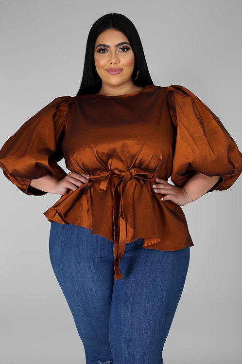 Plus Size Puff Sleeve Blouse