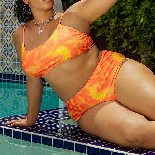 Plus Size Orange Tie Dye Swimsuit